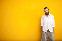 Long bearded hipster on yellow wall Stock Photo