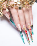 Long beautiful manicure on the fingers of Stock Photos