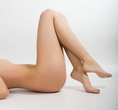 Long beautiful woman legs . beautiful smooth skin Royalty Free Stock Images