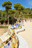 Long bench designed by Gaudi  in Park Guell Royalty Free Stock Photography
