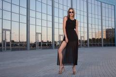 Long black dress Stock Images