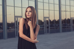 Long black dress Stock Image