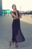 Long black dress stock photos