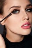 Long Black Eyelashes. Woman With Makeup Applying Cosmetics Stock Photo