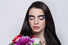 Long black hair stock image