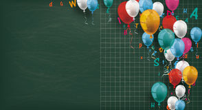 Long Blackboard Colored Balloons Letters. Long blackboard with colored balloons and letters Royalty Free Stock Images