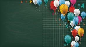 Long Blackboard Colored Balloons Letters. Long blackboard with colored balloons and letters royalty free illustration