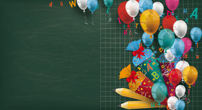 Long Blackboard Colored Balloons Letters Pencils Candy Cones Royalty Free Stock Images