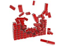 Long Blocks. Breaking red long block 3d wall, isolated Royalty Free Stock Photography