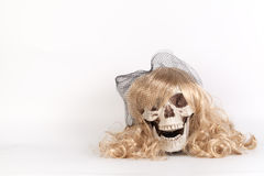 Long Blond Hair Facing Skull, Witch Conjuring Spirit or Casting Royalty Free Stock Photos
