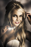 Long Blond Hair Fashion Girl In Night Makeup Stock Photography
