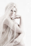Long blond haired artistic beauty checking you out royalty free stock images