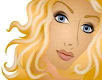 Long Blonde Curly Hair Woman. A digital art illustration of a woman with long blonde curly flowing hair, head tilted and staring forward against a white Stock Image