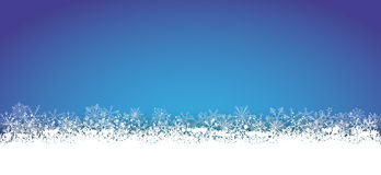 Long Blue Christmas Card Snowflakes Stock Image