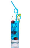 Long Blue Cocktail with Mint and Cherry Royalty Free Stock Images