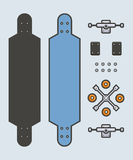 Long board parts. Vector Illustration of longboard parts Stock Images