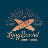Long Board Surf Riders Abstract Retro Vector Label Stock Image
