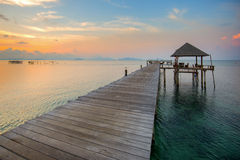 The long boardwalks to the sea Stock Photography