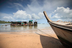Long boat. In Thailand travel background Stock Photos