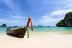 Long boat at beach Stock Image