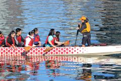 Long Boat Instructor and Students stock image