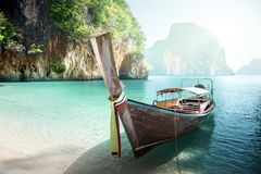 Long boat on island stock photo