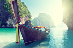 Long boat on island stock photo