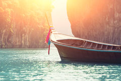 Long boat on island in Thailand Stock Image