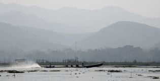 Long boat on Inle Lake in central Myanmar royalty free stock photography