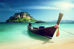 Long boat and poda island Royalty Free Stock Images
