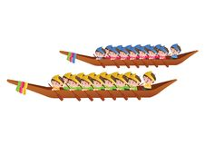 Long boat race,colorful cartoon style,sport and festival of Asia. N,isolated style,vector illustration Royalty Free Stock Images
