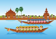 Long boat race,colorful cartoon style,sport and festival of Asia. N,around with nature and country style, illustration Royalty Free Stock Image