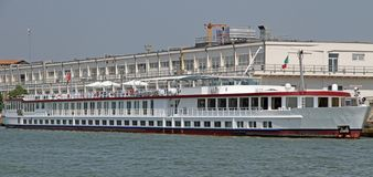Long boat restaurant for the transportation of tourists in Venic Stock Photography