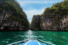 Long boat, rocks on Koh Hong in Krabi Stock Photos