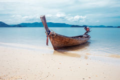 Long boat and tropical beach, Andaman Sea Royalty Free Stock Images