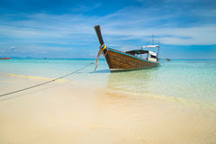 Long boat and tropical beach, Andaman Sea, Koh Rok, Thailand Royalty Free Stock Photography