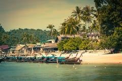 Long boat and tropical beach, Andaman Sea,Phi Phi Islands,Thaila Stock Photo