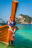 Long boat and tropical beach, Andaman Sea,Phi Phi Islands,Thaila Royalty Free Stock Photography