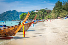 Long boat and tropical beach, Andaman Sea,Phi Phi Islands,Thaila Stock Image