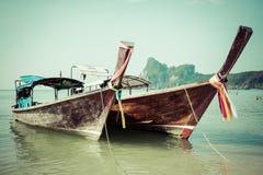 Long boat and tropical beach, Andaman Sea,Phi Phi Islands,Thaila Royalty Free Stock Images