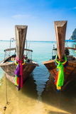 Long boat and tropical beach, Andaman Sea,Phi Phi Islands,Thaila Royalty Free Stock Photo
