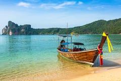 Long boat and tropical beach, Andaman Sea,Phi Phi Islands,Thaila Royalty Free Stock Image