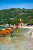 Long boat and tropical beach, Andaman Sea,Phi Phi Islands,Thaila Royalty Free Stock Photos