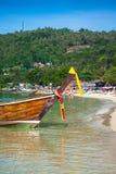 Long boat and tropical beach, Andaman Sea,Phi Phi Islands,Thaila Royalty Free Stock Photos