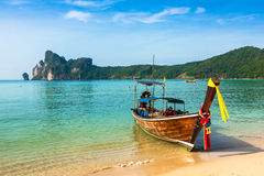 Long boat and tropical beach, Andaman Sea,Phi Phi Islands,Thaila Stock Photography