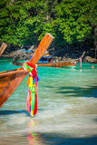 Long boat and tropical beach, Andaman Sea,Phi Phi Islands,Thailand Royalty Free Stock Photography