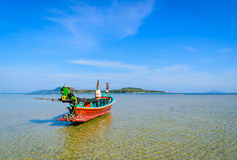 Long boat and tropical beach in Andaman Sea, Phuket Stock Photo