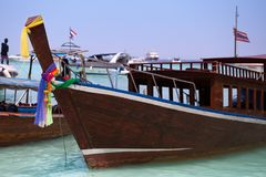 Long boat and tropical beach Stock Photo
