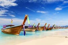 Long boat and tropical beach, Andaman Sea Royalty Free Stock Photos