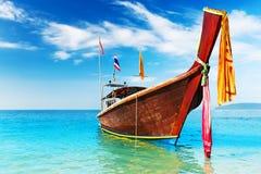 Long boat and tropical beach, Andaman Sea Stock Images